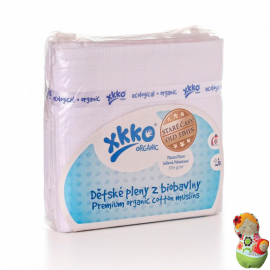 Pack de 5 gasas de algodón orgánico blanqueado XKKO