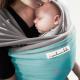 Fular elástico Je porte mon bébé gris claro turquesa