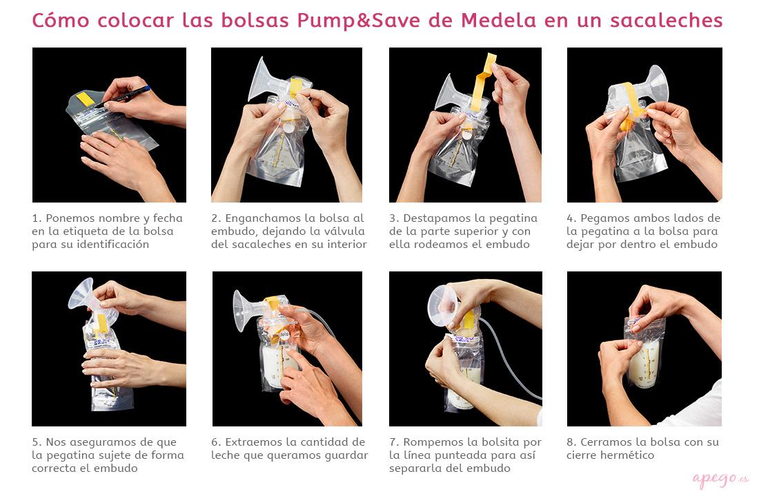 Cómo colocar las bolsas de conservación Medela en el sacaleches