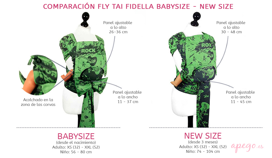 Fidella Fly Tai comparación Babysize y New Size