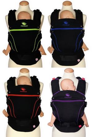 Colección de mochilas portabebés Black Line de Manduca 100% algodón