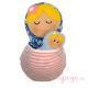 Matrioska juguete de porteo morado rosa