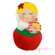 Matrioska juguete de porteo rojo verde
