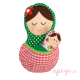 Matrioska juguete de porteo verde rojo