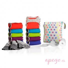 Pack 10 pañales Todo en Dos Pop in unitalla colores vivos