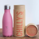 Botella Chilly's 260 ml rosa pastel caja