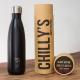 Botella Chilly's 500 ml negro mate caja