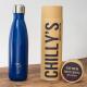 Botella Chilly's 500 ml azul mate caja