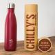 Botella Chilly's 500 ml rojo mate caja