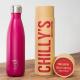 Botella Chilly's 500 ml rosa mate caja
