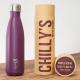 Botella Chilly's 500 ml morado mate caja