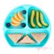 Plato de silicona Bumkins azul alimentación complementaria