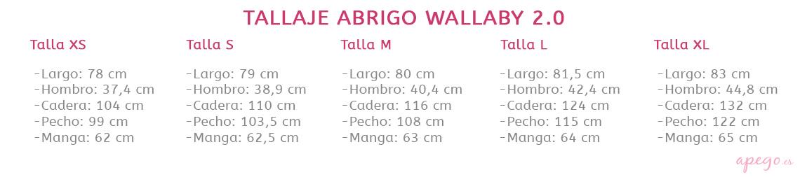 Abrigo de porteo Wallaby 2.0 tallas